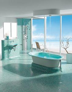 Wist u dat uw badkamer ruimtelijker lijkt door glanzende tegels? Dit ...