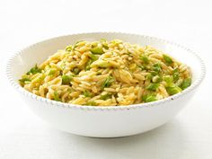 Stir cooked orzo with olive oil, dried mint and a little lemon.