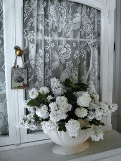 Raindrops and Roses French Country Decorating, Shades Of White, Decor, Romantic Homes, Raindrops And Roses, Lilac Blossom, White Cottage, Shabby White, Lilac