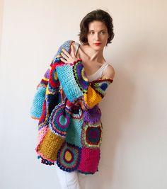 Plus Size Multicolor Crocheted Cardigan by on Etsy Diy Crochet Cardigan, Crochet Coat, Crochet Clothes, Pull Crochet, Hand Crochet, Freeform Crochet, Thread Crochet, Boho Pullover, Plus Size Kleidung