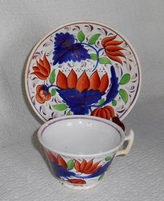 Antique Staffordshire Soft Paste Gaudy Dutch Cup & Cupped Plate Saucer