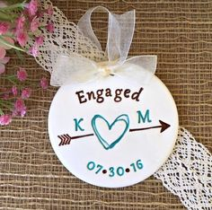 Personalized Engagement Ornament - Scribble Heart and Arrow, Ceramic Ornament with Initials, Persona