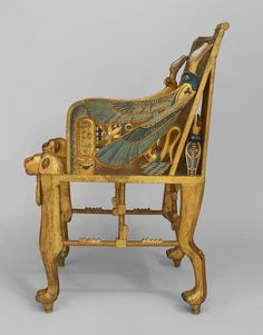Late c Egyptian Revival Polychrome Carved Throne Chair is part of Egyptian furniture - For Sale on Egyptian Revival gilt armchair or throne with carved motifs and polychromed relief with classical figures and hieroglyphics (possibly English, Egyptian Furniture, Egyptian Home Decor, Egyptian Art, Egyptian Jewelry, Ancient Egyptian Architecture, Ancient Egypt Art, Throne Chair, Art Nouveau, Furniture Styles