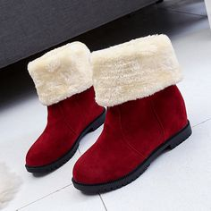 Multi-Ways Wearing Slip On Warm Fur Ankle Boots Bottes De Chaussures 195622a8b78