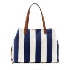 Navy Cream Printed Oversized Tote | Millie | Free Shipping on Orders $50+