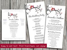 Love Bird Heart Tree Branch Gray Red Burgundy Wedding Program Microsoft Word Template | Whimsical Wedding Printable Wedding Program by PaintTheDayDesigns on Etsy, $10.00