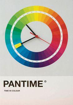 """Pantime - a clock using the Pantone color wheel """"Can't wait 'til it's 234 - quittin' time! Web Design, Design Art, Time Design, Design Room, House Design, Graphic Design Inspiration, Color Inspiration, Vitrine Design, Pantone Universe"""