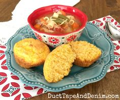 Butternut squash cornbread muffins and soup | DuctTapeAndDenim.com #MerryMonday
