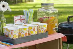 Set up an adorable refreshment area for your guests to hydrate.