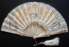 Angel fan, circa 1880. Mother-of-pearl fan, the lace and silk leaf is painted.