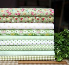 Items similar to Green series floral dot stripe cotton fabric bundle patchwork fabric bundle Quilted bundle doll's clothes fabric on Etsy Patchwork Fabric, Cotton Quilting Fabric, Cotton Quilts, Fabric Patterns, Sewing Patterns, Polka Dot Fabric, Sewing Projects, Sewing Tutorials, Shabby
