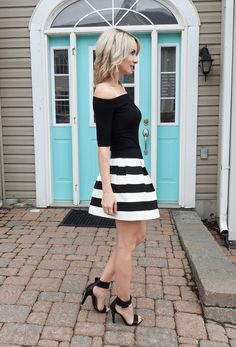 Spring 2017, cute outfit, black and white striped skirt, Jean Machine off the shoulder top, black sandals, heels