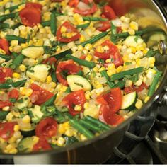 Summer Succotash.  This summer dish's rich colors and farm-fresh ingredients of corn, zucchini, tomatoes and green beans serve up nicely with any entree.