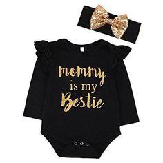 """Newborn Baby Girls Clothes Floral """"Mommy is My bestie"""" Bodysuit Romper headband (6-9 Months Black)"""
