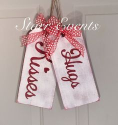 Hugs and Kisses sign. Wooden tag signs. Valentine's by StarrEvents