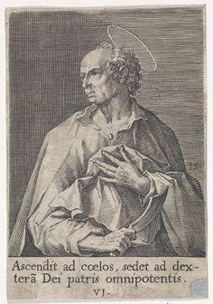 Johann Sadeler (I) | Apostel Bartholomeus, Johann Sadeler (I), 1570 - 1600 | De apostel Bartholomeus, met als attribuut het mes waarmee hij werd gevild. De prent heeft een Latijns onderschrijft met een regel uit het Credo. De achtste prent in een serie van veertien waarvan de prenten met een apostel genummerd zijn van 1 tot 12.