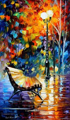Lonely Bench — PALETTE KNIFE Oil Painting On Canvas By Leonid Afremov