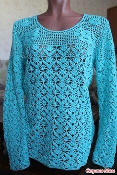 . Openwork intertwitter # 5. Blouse ... sirloin + openwork. - All in azure ... (crochet) - Country Mom