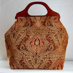 Paisley Chenille Damask Large Craft Project Tote/ by tanneicasey
