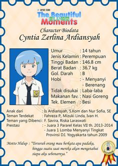 Cyntia's biodata. Wanna know? Just check this out if you know Bahasa well.