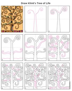 Gustav Klimt's Tree of Life painting has been an inspiration for so man works of art. The curly branches can get rather confusing to draw though, so I thought I'd break down how I drew my picture, and then offer it for downloading purposes too. • View and download Tree of Life Tutorial