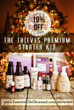 The Thieves Starter Kit contains a 15 ml Thieves essential oil bottle, Thieves Aroma Bright Toothpaste, Thieves Mouthwash, two Thieves All Purpose Cleaner, Two Foaming Hand Soap, two Thieves Spray, two Thieves Hand Purifier. Citrus Fresh Essential oil blend 5 ml bottle. Aroma Glide ™ Roller Attachment. Essential oil samples : Lavender, Peppermint, Peace & Calming, Lemon, and Thieves, two samples of NingXia Red. Orders yours at www.EssentialOilsObsessed.com/starter-kits