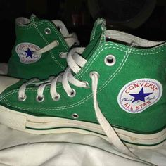 Shop Women's Converse size 7 Sneakers at a discounted price at Poshmark. Description: Have very minimum flaws. Green Sneakers, Cute Sneakers, Shoes Sneakers, Green Converse High Tops, Fresh Shoes, Hot Shoes, Mode Converse, Aesthetic Shoes, Pretty Shoes