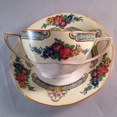 Crown Ducal Ware Gainsborough Shape Art Deco Floral Bouillon Broth Cup Saucer