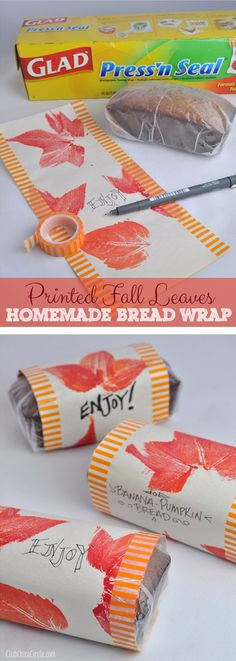 Pumpkin Banana Bread Homemade Fall Wrapping Paper Craft by Club Chica Circle.