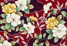 Quilt Gate Hyakka Ryoran Shiki in red, yellow, green, and silver cotton fabric HR3140-14C by kimonomomo
