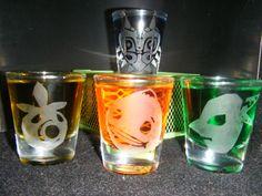 Legend of Zelda Majoras Mask etched shot glass set por CustomShot, $20.00
