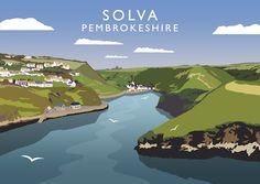 Solva, Pembrokeshire Art Print Posters Uk, Railway Posters, Poster Ads, Poster Vintage, Vintage Travel Posters, Pembrokeshire Coast, British Travel, Tourism Poster, Eyvind Earle