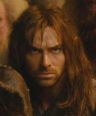 While the goblin king is speaking... Kili's got this defiant look on his face, but he's also secretly wondering if they're going to get out of this alive. This time, yes.... this time.