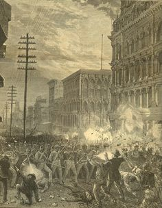 Mine workers clash with soldiers during the Great Railroad Strike of 1877 in Baltimore
