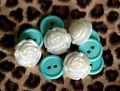 Vintage teal and white buttons.