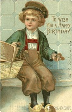 Antique Postcard.. To Wish You A Happy Birthday.