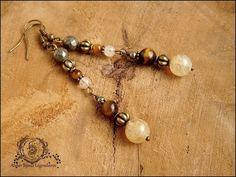 ~ Alliances éternelles ~ Boucles Pyrite facettée, Citrine, Oeil de tigre, lanternes et métal bronze : Boucles d'oreille par atelier-bijoux-legendaires