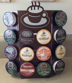 Keurig K Cup Coffee Pods Holder Counter Top Storage Rack K-Cup K Cups. $19.95, via Etsy.