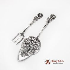 German 835 silver set of pastry server and serving fork, decorated with adorable Hildesheimer Rose pattern by Christopher Bach, c. 1940s.