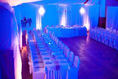 Wedding. Romantic atmosphere of wedding dinner. Blue light and decoration. Calm and love. Ideal for winter wedding. #wedding #winterwedding #bluewedding #weddingdinner photo by www.filipfoto.eu catering and decoration by www.catering5s.sk