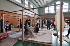 Shigeru Ban's modular shelters make their way across Japan thanks to generous donations.