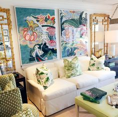 These two prints of vintage French textiles (titled Pignier Carousselle 1 & 2) are brilliant use of color and pattern, and the palette of greens–from those chinoiserie throw pillows to that lime ottoman–is a perfect (nearly botanical) setting for it. Photo courtesy of Hive Home, Gift & Garden, West Palm Beach, FL. Coastalliving.com