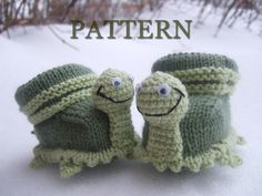 Knitted baby booties 'turtles' (PDF pattern), (sizes 0-6/6-12 months)