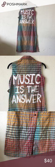 """✨POSHMARK EXCLUSIVE✨ """"Music is the Answer"""" Dress With all of these music festivals happening, how is music not the answer?! I'm so glad I was able to find this dress just in time! It is made would of a soft flannel like material, and even ties in the front! You can completely unbutton this baby and layer it or wear it on its own! 💕💕 Each purchase comes with a free gift!💕💕 Jac Vanek Dresses Maxi"""