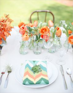 bright chevron napkins provide an extra pop of color in this wedding reception table setting Wedding Trends, Wedding Designs, Wedding Styles, Wedding Ideas, Wedding Stuff, Wedding Photos, Dream Wedding, Orange Wedding, Wedding Colors