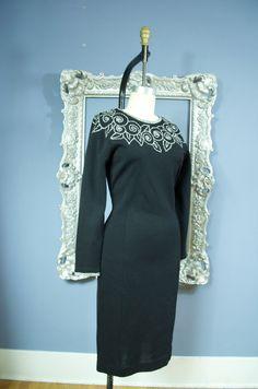 black cocktail dress Vintage wiggle dress size by melsvanity, $98.00
