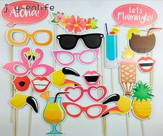 Hawaiian Luau Theme Pineapple Party Supplies Pink Flamingo Photo Booth Prop for sale online Flamingo Party, Pool Party Ideias, Accessoires Photobooth, Party Fotos, Wedding Photo Booth Props, Photo Props, Props Photobooth, Moana Themed Party, Gender Reveal Party Supplies