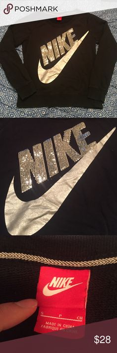 Black sequined Nike Crewneck In great shape. Has been worn a few times but overall has no wear or tear. Nike Tops Sweatshirts & Hoodies