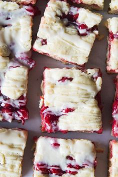 Cherry Pie Bars! Cherry Pie is made extra easy by turning the rich and buttery crust into bars layered with a sweet and tart cherry pie filling. Drizzle with a little glaze and you will have a new favorite dessert you will want to make again and again!