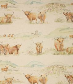 Save 44% on our Linen Highland Cattle Traditional Fabric from Voyage Decoration; perfect for creating Curtains & Blinds.